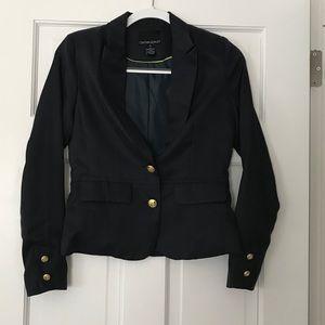 Cynthia Rowley navy blue sateen blazer jacket